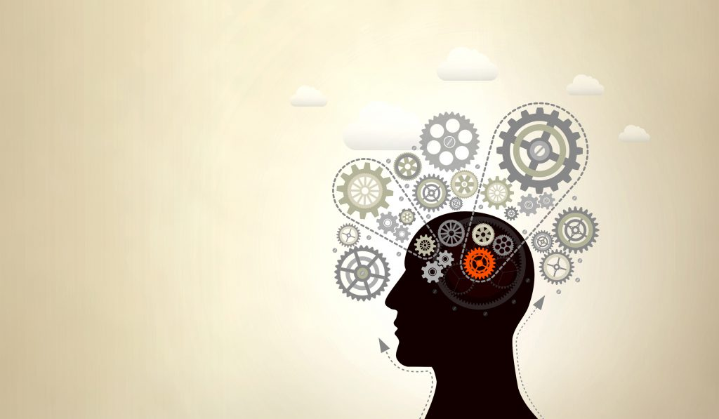 Abstract Person with Cogwheels Thinking Fast and Slow - With Copyspace